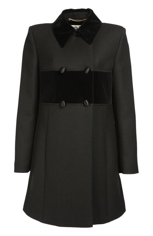 Двубортное пальто прямого кроя с отложным воротником Saint Laurent 440775/Y167W