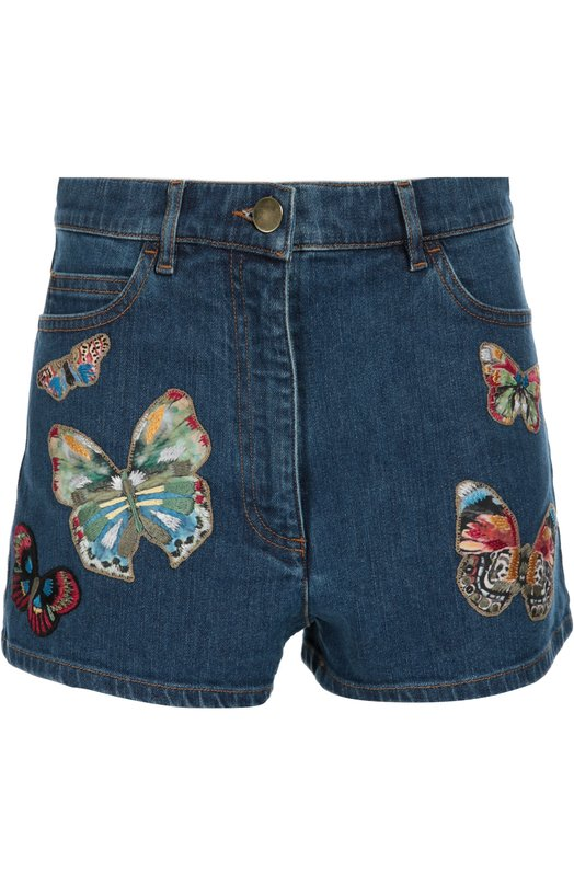 Джинсовые мини-шорты с завышенной талией и вышивкой Valentino LB3DD03P/1YF