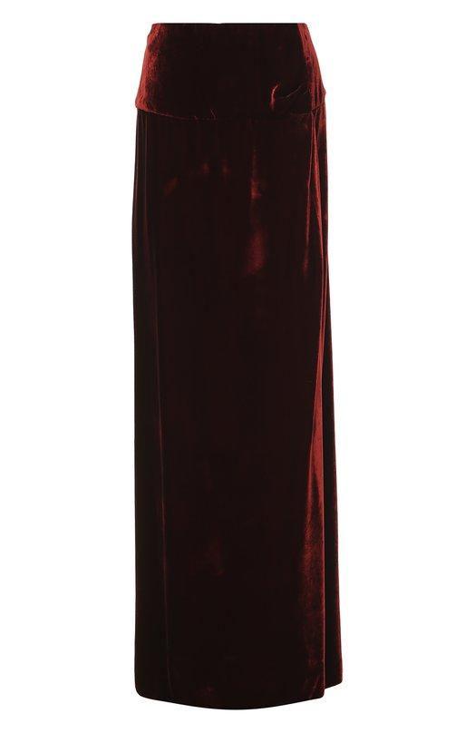 Бархатная юбка-макси с высоким разрезом Dries Van NotenЮбки<br>Дрис ван Нотен выбрал для создания юбки в пол из осенне-зимней коллекции 2016 года плотный бархат бордового оттенка. Вечерняя модель с широким поясом и высоким боковым разрезом застегивается сзади на потайную молнию. Советуем сочетать со светлой блузой, черными туфлями и сумкой.<br><br>Российский размер RU: 42<br>Пол: Женский<br>Возраст: Взрослый<br>Размер производителя vendor: 36<br>Материал: Вискоза: 66%; Купра: 34%;<br>Цвет: Бордовый