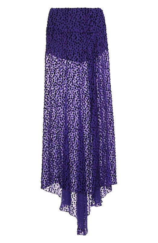 Полупрозрачная юбка-макси с подолом Dries Van NotenЮбки<br>Фиолетовая вечерняя юбка вошла в коллекцию сезона осень-зима 2016 года. Для производства модели в пол Дрис ван Нотен выбрал плотный струящийся, немного прозрачный материал с объемным узором, выполненным нитью в тон, с добавлением люрекса. Изделие с небольшим шлейфом застегивается на потайную молнию.<br><br>Российский размер RU: 44<br>Пол: Женский<br>Возраст: Взрослый<br>Размер производителя vendor: 38<br>Материал: Вискоза: 58%; Шелк: 27%; Полиэстер: 15%;<br>Цвет: Фиолетовый