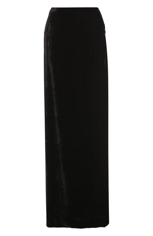 Бархатная юбка-макси с высоким разрезом Dries Van NotenЮбки<br>Дрис ван Нотен включил в коллекцию сезона осень-зима 2016 года вечернюю юбку черного цвета. Для создания длинной модели с боковым разрезом до середины бедра использован прочный бархат с матовым блеском. Нам нравится носить с белой полупрозрачной блузой, а также с ботильонами и сумкой в тон изделию.<br><br>Российский размер RU: 44<br>Пол: Женский<br>Возраст: Взрослый<br>Размер производителя vendor: 38<br>Материал: Вискоза: 66%; Купра: 34%;<br>Цвет: Черный