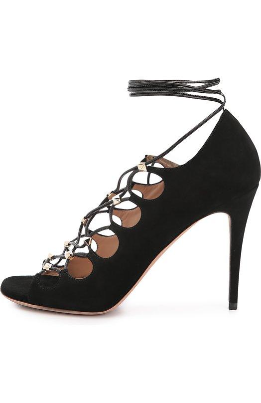 Замшевые босоножки Rockstud Gladiator на шнуровке Valentino LW1S0A29/APM