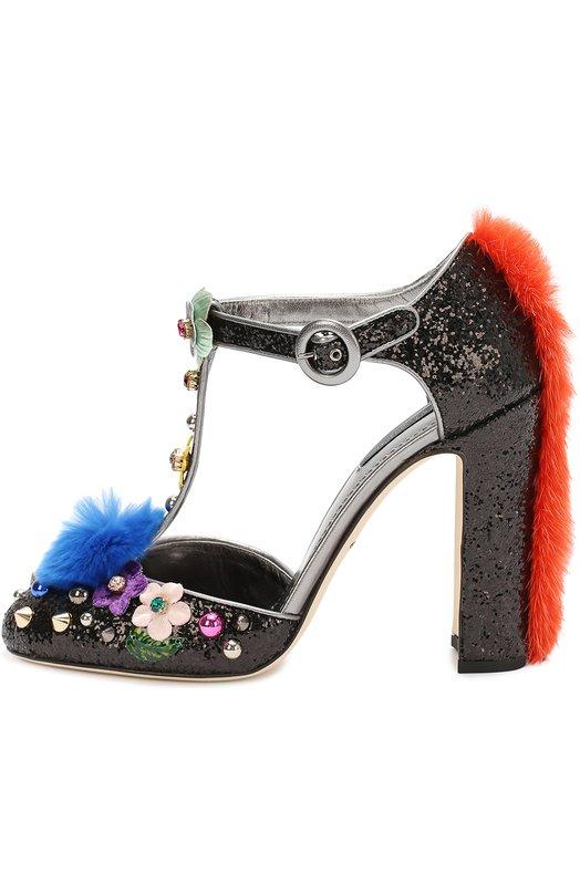 Туфли Vally с глиттером и декором Dolce & Gabbana 0112/CD0603/A8I12