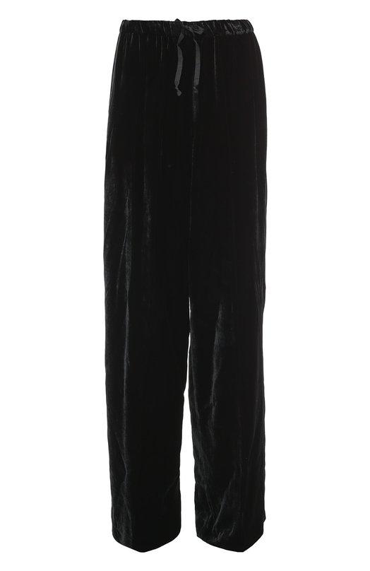 Бархатные широкие брюки с эластичным поясом Dries Van NotenБрюки<br><br><br>Российский размер RU: 46<br>Пол: Женский<br>Возраст: Взрослый<br>Размер производителя vendor: 40<br>Материал: Вискоза: 66%; Купра: 34%;<br>Цвет: Черный