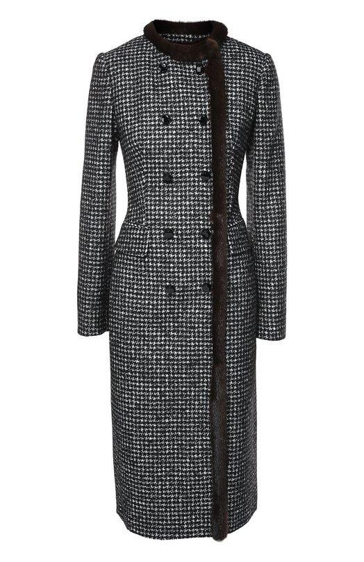 Двубортное приталенное пальто с меховой отделкой Dolce & Gabbana 0102/F0Q60T/FMMEZ
