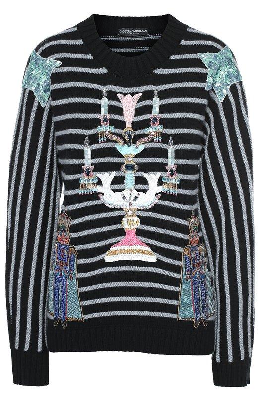 Кашемировый пуловер свободного кроя с разноцветной вышивкой Dolce & Gabbana 0102/FP037K/F69C6