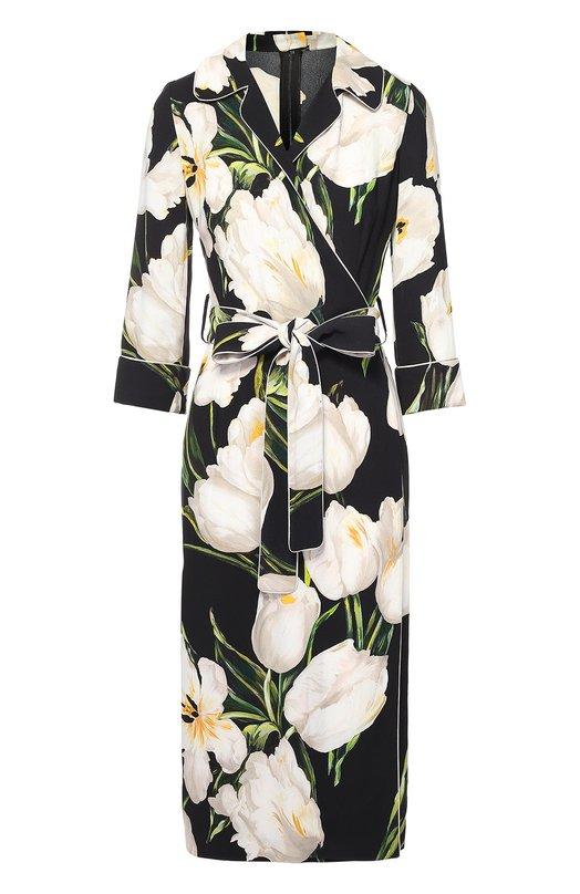 Платье с запахом в пижамном стиле с цветочным принтом Dolce &amp; GabbanaПлатья<br>Платье с запахом, рукавами 3/4 и отложным воротником застегивается сзади на потайную молнию и крючок. Доменико Дольче и Стефано Габбана выбрали для создания модели тонкий гладкий кади с принтом в виде тюльпанов. Этот рисунок стал одним из основных в сезона осень-зима 2016 года.<br><br>Российский размер RU: 42<br>Пол: Женский<br>Возраст: Взрослый<br>Размер производителя vendor: 40<br>Материал: Вискоза: 95%; Шелк: 5%;<br>Цвет: Белый