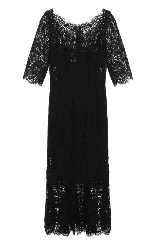 Кружевное платье с юбкой-годе и коротким рукавом Dolce &amp; GabbanaПлатья<br>Приталенное черное миди-платье с короткими рукавами вошло в осенне-зимнюю коллекцию 2016 года. Доменико Дольче и Стефано Габбана выбрали для создания модели тонкое кордовое кружево с цветочным мотивом. Широкая оборка на подоле и круглый вырез отделаны фестонами.<br><br>Российский размер RU: 44<br>Пол: Женский<br>Возраст: Взрослый<br>Размер производителя vendor: 42<br>Материал: Шелк: 76%; Полиамид: 44%; Эластан: 4%; Вискоза: 35%; Хлопок: 21%;<br>Цвет: Черный
