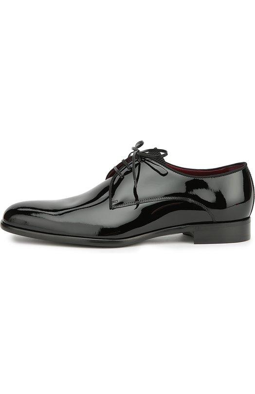 Дерби Siena из лаковой кожи Dolce &amp; GabbanaТуфли<br>Черные дерби Siena с миндалевидным мысом и широким каблуком вошли в коллекцию сезона осень-зима 2016 года. Модель сшита из гладкой лакированной кожи по технологии Blake, позволяющей одновременно соединить верх, стельку и подошву, что делает обувь более прочной.<br><br>Российский размер RU: 40<br>Пол: Мужской<br>Возраст: Взрослый<br>Размер производителя vendor: 40<br>Материал: Кожа натуральная: 100%; Стелька-кожа: 100%; Подошва-кожа: 100%; Подошва-резина: 100%; Стелька-текстиль: 100%;<br>Цвет: Черный