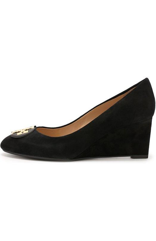 Замшевые туфли с брошью на танкетке Tory Burch 31477