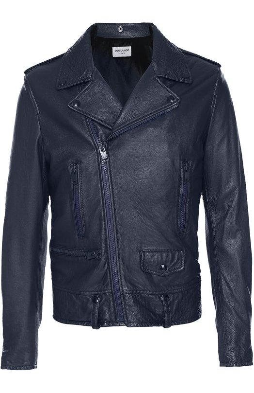 Кожаная косуха с карманами на молнии Saint Laurent 442929/Y5NQ1