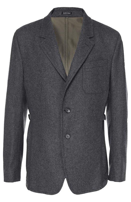 Шерстяной однобортный пиджак с отделкой из смеси хлопка и шелка Alexander McQueenПиджаки<br>Приталенный серый блейзер с заостренными лацканами и одним нагрудным карманом вошел в коллекцию сезона осень-зима 2016 года. Модель сшита из фактурной мягкой шерсти, спинка —из гладкого и прочного атласа. По бокам — узкие ремешки с пряжками, позволяющие отрегулировать посадку на талии.<br><br>Российский размер RU: 48<br>Пол: Мужской<br>Возраст: Взрослый<br>Размер производителя vendor: 48<br>Материал: Отделка-хлопок: 75%; Отделка-шелк: 25%; Шерсть: 100%; Подкладка-вискоза: 100%;<br>Цвет: Серый