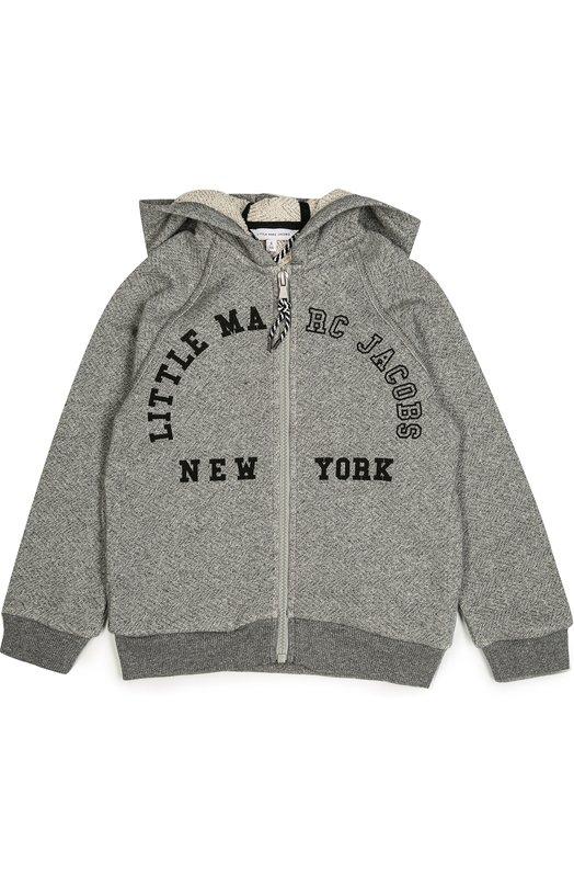 Хлопковая толстовка на молнии с капюшоном Marc JacobsКардиганы<br>Толстовка с капюшоном вошла в коллекцию сезона осень-зима 2016 года. Модель с длинными рукавами реглан и двумя боковыми карманами изготовлена из мягкого хлопка серого цвета, пояс и манжеты – из трикотажа-резинки в тон. На груди – принт в виде логотипа марки.<br><br>Размер Years: 6<br>Пол: Мужской<br>Возраст: Детский<br>Размер производителя vendor: 116-122cm<br>Материал: Отделка-хлопок: 95%; Отделка-эластан: 5%; Хлопок: 100%;<br>Цвет: Серый