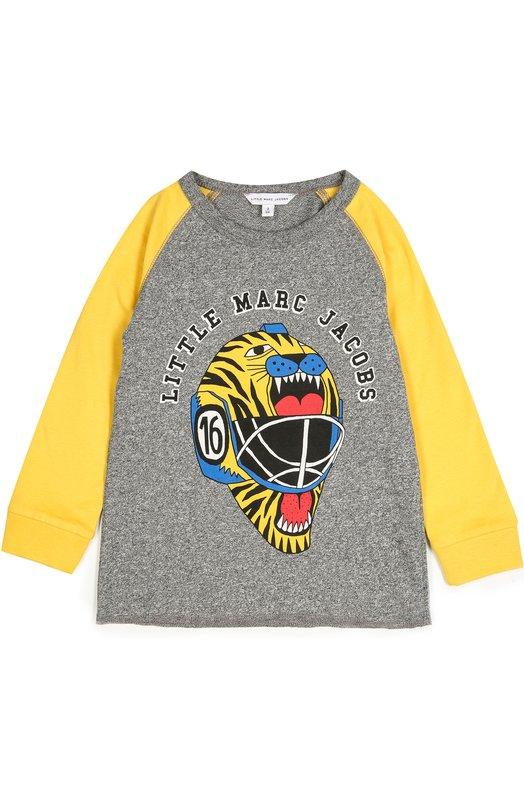 Хлопковый лонгслив с принтом Marc JacobsФутболки<br>Для создания лонгслива мастера марки использовали мягкий хлопок джерси серого, для длинных рукавов-реглан – желтого цветов. Футболка с круглым вырезом из коллекции сезона осень-зима 2016 года украшена ярким принтом с логотипом марки.<br><br>Размер Years: 3<br>Пол: Мужской<br>Возраст: Детский<br>Размер производителя vendor: 98-104cm<br>Материал: Хлопок: 100%;<br>Цвет: Серый