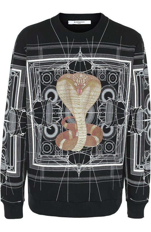 Хлопковый свитшот с принтом GivenchyСвитеры<br>В осенне-зимнюю коллекцию 2016 годавошел черный свитшот из мягкого гипоаллергенного хлопка. Рикардо Тиши украсил модель графическим белым рисунком, а также изображением кобры. Рекомендуем сочетать с белой длинной футболкой, черными джинсами и слипонами.<br><br>Российский размер RU: 46<br>Пол: Мужской<br>Возраст: Взрослый<br>Размер производителя vendor: S<br>Материал: Хлопок: 100%;<br>Цвет: Черный