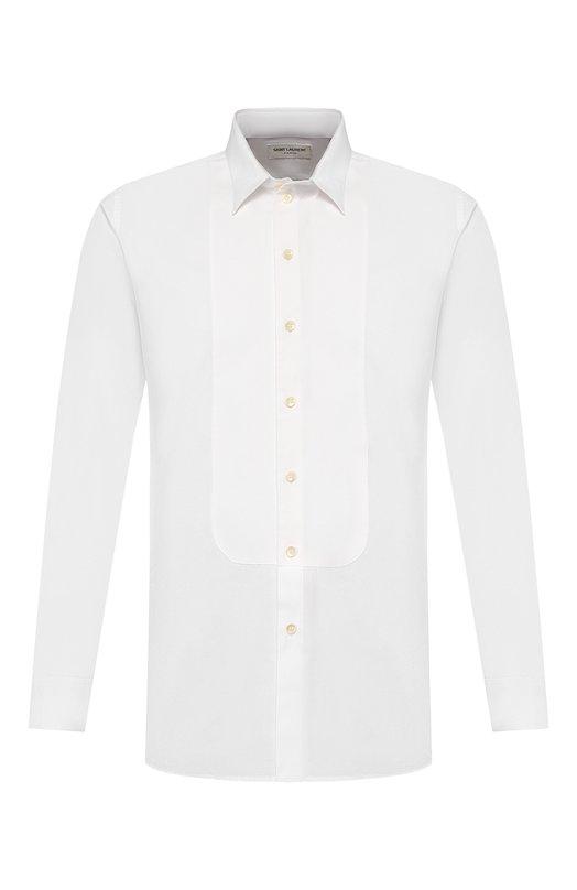 Хлопковая сорочка с итальянскими воротником Saint Laurent 437610/Y271W