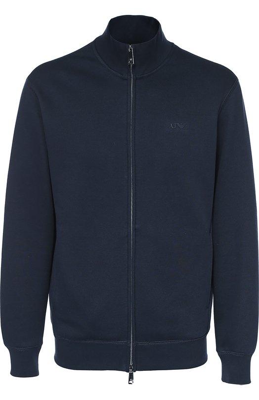 Хлопковая толстовка на молнии с воротником-стойкой Armani Jeans 8N6M52/6JQDZ
