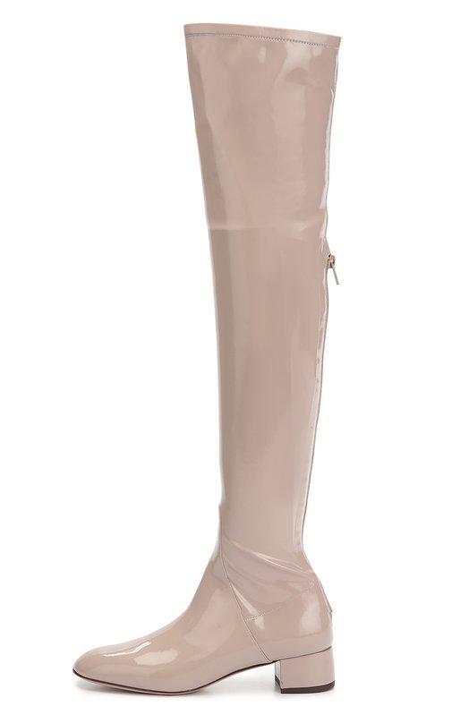 Лаковые ботфорты Stretch на устойчивом каблуке ValentinoСапоги<br>Мастера марки, основанной Валентино Гаравани, изготовили лакированные бежевые ботфорты-чулки из эластичного прочного текстиля и гладкой кожи. Модель на невысоком квадратном каблуке, с круглым мысом вошла в осенне-зимнюю коллекцию 2016 года. Обувь застегивается сзади на длинную молнию.<br><br>Российский размер RU: 36<br>Пол: Женский<br>Возраст: Взрослый<br>Размер производителя vendor: 36<br>Материал: Текстиль: 80%; Полиуретан: 20%; Кожа натуральная: 100%; Стелька-кожа: 100%; Подошва-кожа: 100%;<br>Цвет: Бежевый