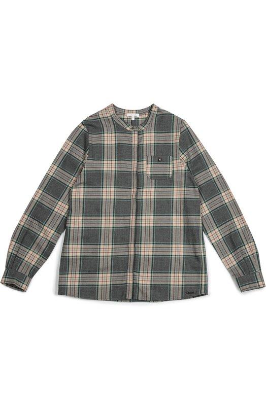 Рубашка с принтом в клетку Chlo?Блузы<br>Для создания рубашки прямого кроя использован мягкий хлопок в серо-бежевую клетку. Модель с длинными рукавами, нагрудным накладным карманом и круглым вырезом вошла в коллекцию сезона осень-зима 2016 года. Изделие застегивается на потайные пуговицы.<br><br>Размер Years: 8<br>Пол: Женский<br>Возраст: Детский<br>Размер производителя vendor: 128-134cm<br>Материал: Хлопок: 100%;<br>Цвет: Серый