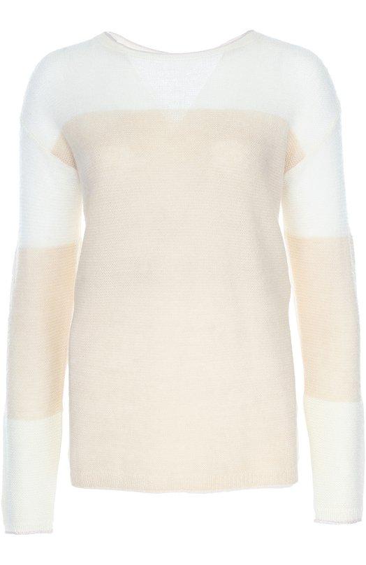 Полупрозрачный вязаный пуловер с вырезом-лодочка Escada SportСвитеры<br>В осенне-зимнюю коллекцию 2016 года вошел двухцветный пуловер Sagosin с вырезом-лодочкой. Изделие связано из тончайшей пряжи с добавлением мягких волокон шерсти и мохера. Наши стилисты рекомендуют носить с удлиненным жилетом в тон, синими джинсами, бордовыми кедами и сумкой.<br><br>Российский размер RU: 52<br>Пол: Женский<br>Возраст: Взрослый<br>Размер производителя vendor: XL<br>Материал: Полиамид: 52%; Мохер: 27%; Шерсть: 21%;<br>Цвет: Кремовый