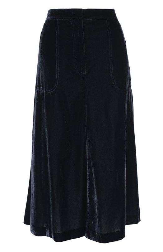 Бархатная юбка-миди с накладными карманами Escada SportЮбки<br>Темно-синяя расклешенная миди-юбка сшита из фактурного тонкого бархата, актуального в сезоне осень-зима 2016 года. Большие боковые карманы и сама модель застегиваются на молнии. Нам нравится сочетать с лонгсливом в тон и черными лоферами.<br><br>Российский размер RU: 44<br>Пол: Женский<br>Возраст: Взрослый<br>Размер производителя vendor: 36<br>Материал: Вискоза: 75%; Полиамид: 25%; Подкладка-полиэстер: 100%;<br>Цвет: Темно-синий