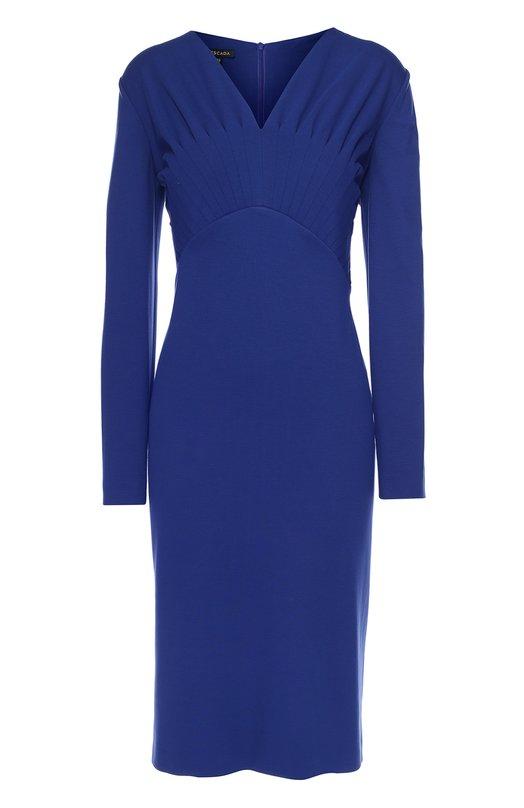Приталенное платье с длинным рукавом и V-образным вырезом EscadaПлатья<br>Платье-футляр Dlikki c V-образным вырезом и длинными рукавами сшито из эластичного плотного джерси насыщенного синего цвета. Этот оттенок стал основным в осенне-зимней коллекции 2016 года. Лиф украшен фигурными складками. Модель застегивается сзади на потайную молнию.<br><br>Российский размер RU: 50<br>Пол: Женский<br>Возраст: Взрослый<br>Размер производителя vendor: 42<br>Материал: Вискоза: 77%; Подкладка-ацетат: 65%; Подкладка-полиамид: 35%; Эластан: 3%; Полиамид: 20%;<br>Цвет: Синий
