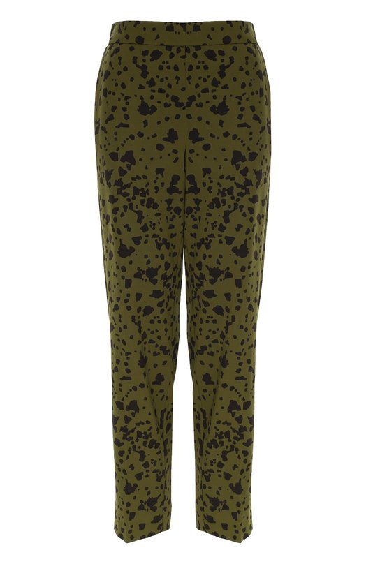 Брюки прямого кроя с леопардовым принтом EscadaБрюки<br>В осенне-зимнюю коллекцию 2016 года вошли брюки Toscana с принтом, напоминающим окрас далматинца. Пояс дополнен широкой трикотажной резинкой. Модель изготовлена из струящегося эластичного материала темно-зеленого цвета. Нам нравится сочетать с блузой с аналогичным принтом, черными туфлями и сумкой.<br><br>Российский размер RU: 46<br>Пол: Женский<br>Возраст: Взрослый<br>Размер производителя vendor: 38<br>Материал: Вискоза: 96%; Эластан: 4%;<br>Цвет: Темно-зеленый