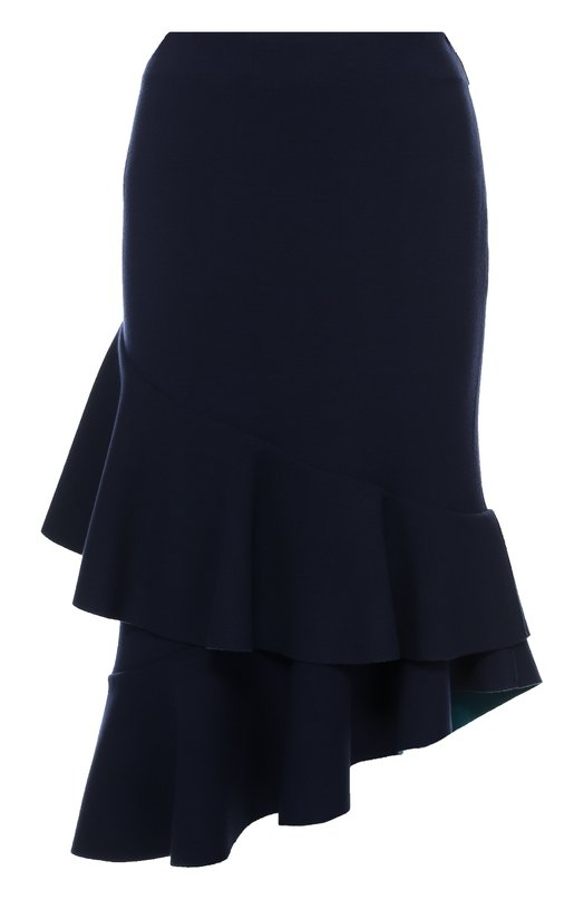 Облегающая юбка асимметричного кроя Escada SportЮбки<br>Облегающая юбка, которая застегивается на потайную боковую молнию, вошла в осенне-зимнюю коллекцию 2016 года. Модель сшита из мягкого эластичного текстиля темно-синего цвета. Асимметричный подол декорирован многослойным широким воланом с необработанным краем.<br><br>Российский размер RU: 42<br>Пол: Женский<br>Возраст: Взрослый<br>Размер производителя vendor: 34<br>Материал: Вискоза: 68%; Эластан: 4%; Полиамид: 28%;<br>Цвет: Темно-синий