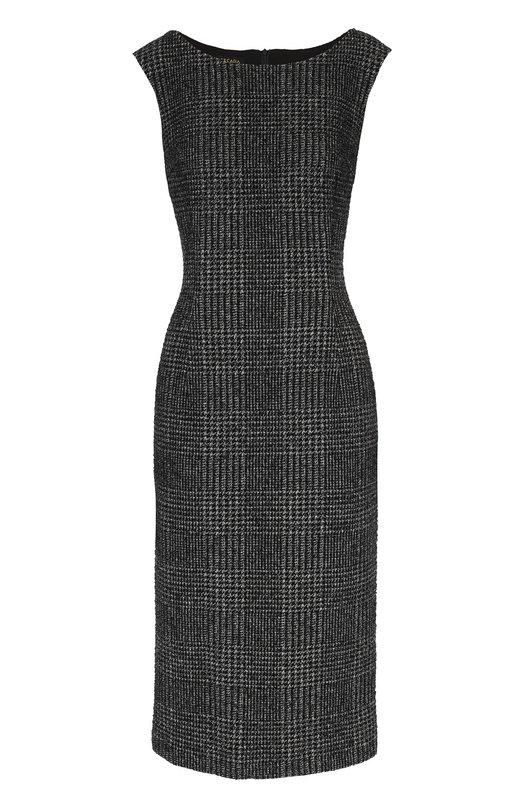 Приталенное платье без рукавов с вырезом-лодочка EscadaПлатья<br>Приталенное платье средней длины сшито из актуального в сезоне осень-зима 2016 года твида в клетку тартан. Изделие серого цвета застегивается на потайную молнию сзади. Нам нравится сочетать с черными водолазкой, сумкой и лоферами.<br><br>Российский размер RU: 50<br>Пол: Женский<br>Возраст: Взрослый<br>Размер производителя vendor: 44<br>Материал: Подкладка-купра: 96%; Вискоза: 77%; Хлопок: 47%; Полиамид: 41%; Подкладка-эластан: 4%; Эластан: 3%; Шерсть: 12%;<br>Цвет: Черный