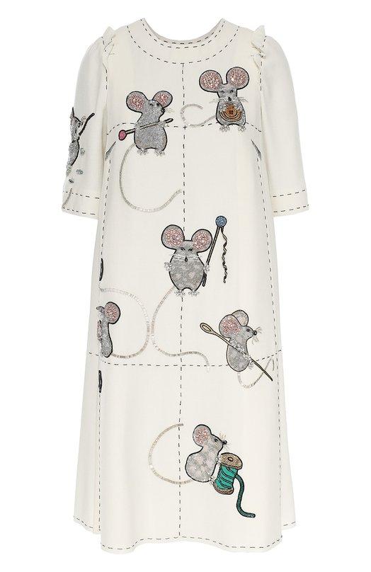 Платье прямого кроя с коротким рукавом и декоративной отделкой Dolce & Gabbana 0102/F61N4Z/FU2TZ