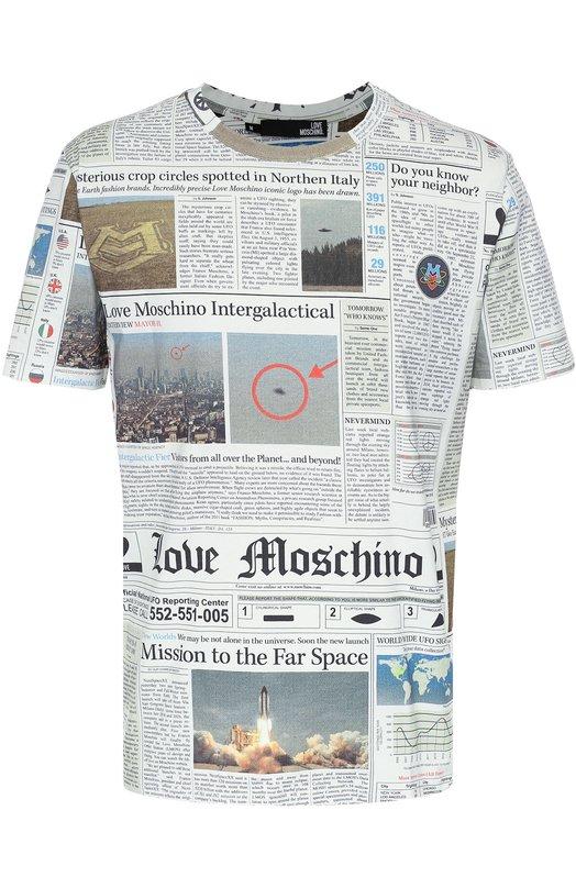 Хлопковая футболка с принтом Moschino M472580/M3683