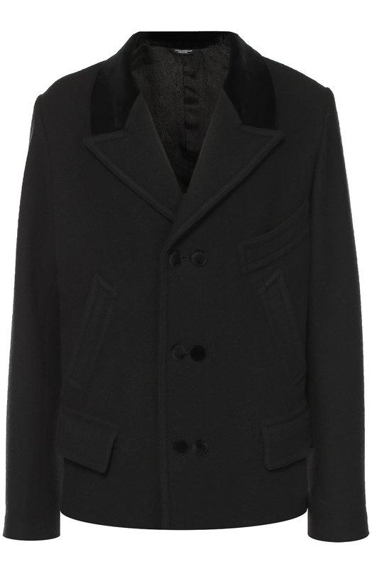 Шерстяное укороченное пальто с остроконечными лацканами Dolce & Gabbana 0101/G0832T/FUMYX