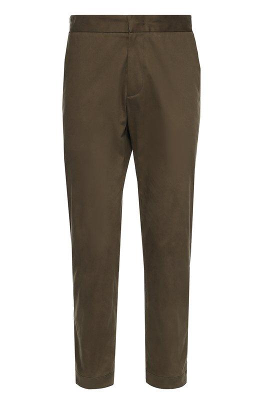 Хлопковые брюки с заниженной линией шага MonclerБрюки<br>Зауженные брюки вошли в коллекцию сезона осень-зима 2016 года. Мастера марки сшили модель цвета хаки из плотного эластичного хлопка. Изделие дополнено двумя боковыми и двумя задними карманами, манжеты — потайными молниями и ремешками с кнопками.<br><br>Российский размер RU: 52<br>Пол: Мужской<br>Возраст: Взрослый<br>Размер производителя vendor: 52<br>Материал: Хлопок: 98%; Эластан: 2%;<br>Цвет: Хаки