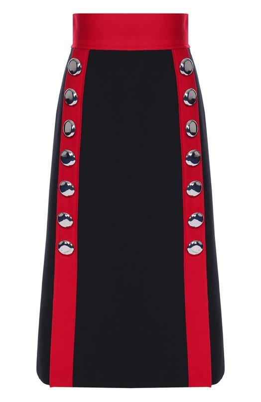 Юбка-миди с широким поясом и контрастной отделкой Dolce &amp; GabbanaЮбки<br>Доменико Дольче и Стефано Габбана включили в коллекцию сезона осень-зима 2016 года черную миди-юбку. Модель А-силуэта, с завышенной линией талии сшита из плотной ткани на основе шерсти. В качестве декора использованы красные вертикальные полосы с нашитыми крупными металлическими пуговицами.<br><br>Российский размер RU: 44<br>Пол: Женский<br>Возраст: Взрослый<br>Размер производителя vendor: 42<br>Материал: Шерсть: 73%; Полиамид: 25%; Эластан: 2%;<br>Цвет: Черный