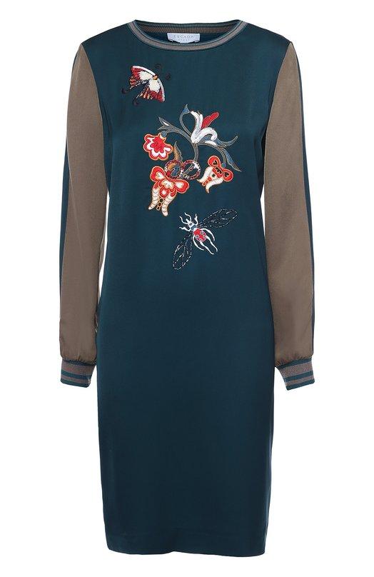 Платье прямого кроя с контрастной вышивкой Escada Sport 5021053