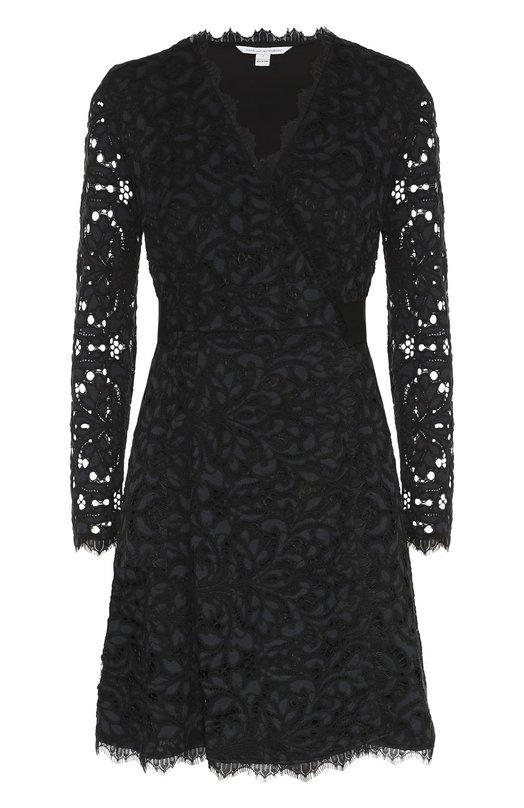 Кружевное мини-платье с запахом и длинным рукавом Diane Von FurstenbergПлатья<br>Платье Shaelyn с V-образным вырезом и длинным рукавом вошло в коллекцию марки, основанной Дианой фон Фюстенберг. Приталенная модель дополнена слоем тонкого черного кружева и широким поясом в тон. Наши стилисты рекомендуют сочетать с темными туфлями на высоком каблуке.<br><br>Российский размер RU: 38<br>Пол: Женский<br>Возраст: Взрослый<br>Размер производителя vendor: 0<br>Материал: Подкладка-полиэстер: 97%; Вискоза: 8%; Хлопок: 49%; Полиамид: 43%; Подкладка-эластан: 3%; Отделка-шелк: 100%;<br>Цвет: Темно-синий