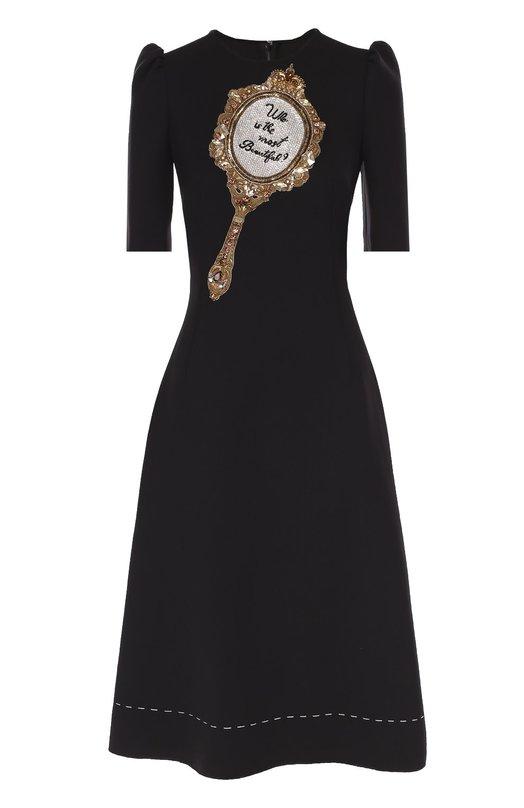 Купить Приталенное платье с рукавом-фонарик и декоративной отделкой Dolce & Gabbana Италия 5113773 0102/F61Q7Z/FUCDU