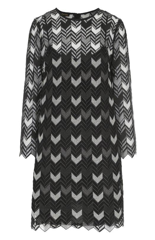 Мини-платье прямого кроя с укороченным рукавом EscadaПлатья<br>Мини-платье прямого кроя, с укороченными рукавами и круглой горловиной сшито из фактурного полупрозрачного кружева с геометрическими узорами. Модель вошла в коллекцию сезона осень-зима 2016 года. Советуем носить с серыми туфлями-лодочками и серебристой сумкой.<br><br>Российский размер RU: 46<br>Пол: Женский<br>Возраст: Взрослый<br>Размер производителя vendor: 38<br>Материал: Хлопок: 82%; Вискоза: 2%; Полиэстер: 15%; Шелк: 100%; Металлизированное волокно: 1%;<br>Цвет: Темно-серый