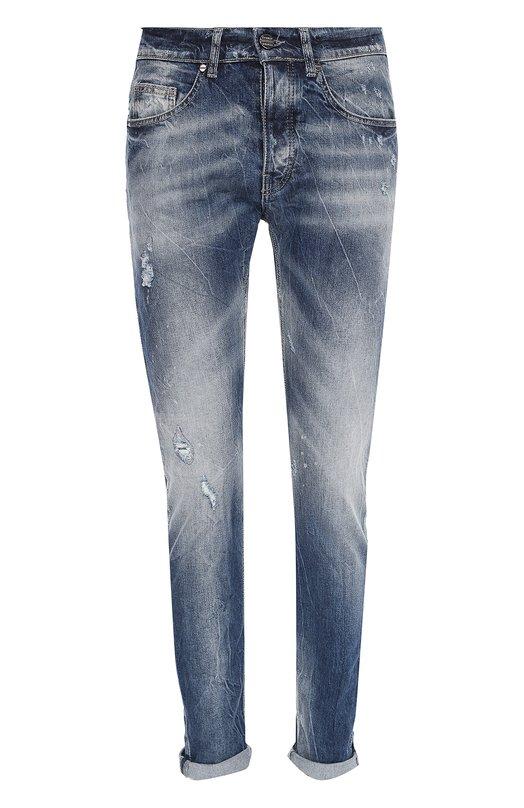Зауженные джинсы с потертостями Frankie Morello FMD508CS0314