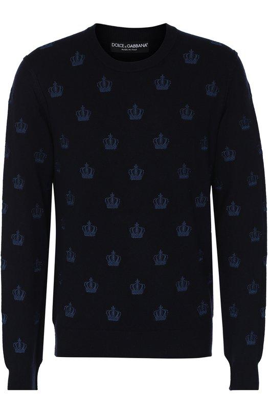 Кашемировый джемпер с круглым вырезом Dolce &amp; GabbanaСвитеры<br>В осенне-зимнюю коллекцию 2016 года вошел темно-синий пуловер из тонкой кашемировой пряжи. Модель с длинными рукавами и круглой горловиной украшена повторяющейся вышивкой в виде короны. Наши стилисты рекомендуют сочетать с джинсами в тон и черными лоферами.<br><br>Российский размер RU: 52<br>Пол: Мужской<br>Возраст: Взрослый<br>Размер производителя vendor: 52<br>Материал: Кашемир: 100%;<br>Цвет: Темно-синий