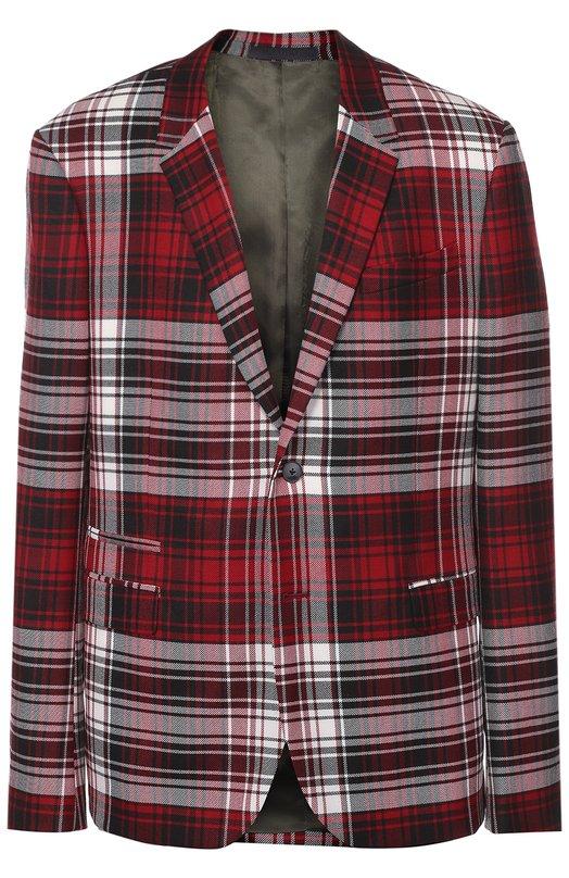 Шерстяной однобортный пиджак в клетку ValentinoПиджаки<br>Дизайнеры марки, основанной Валентино Гаравани, включили в осенне-зимнюю коллекцию 2016 года однобортный пиджак. Модель сшита из мягкого шерстяного текстиля в крупную клетку тартан. На показе ЦУМ Fashion Show изделие было представлено с брюками из такой же ткани, светлым свитером и темными ботинками.<br><br>Российский размер RU: 46<br>Пол: Мужской<br>Возраст: Взрослый<br>Размер производителя vendor: 46<br>Материал: Подкладка-лиоселл: 53%; Подкладка-вискоза: 47%; Шерсть: 100%;<br>Цвет: Красный