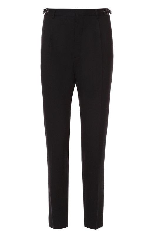 Шерстяные брюки прямого кроя с отделкой из натуральной кожи Valentino