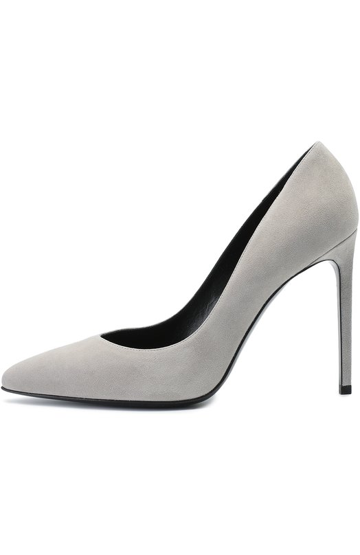 Замшевые туфли Paris Skinny на шпильке Saint LaurentТуфли<br>Мастера бренда, основанного Ивом Сен-Лораном, обновили классические туфли Paris Skinny с зауженным мысом, на высокой шпильке, использовав для создания модели новый материал и оттенок. Обувь из мягкой бархатистой замши серого цвета вошла в коллекцию сезона осень-зима 2016 года.<br><br>Российский размер RU: 40<br>Пол: Женский<br>Возраст: Взрослый<br>Размер производителя vendor: 40-5<br>Материал: Стелька-кожа: 100%; Подошва-кожа: 100%; Замша натуральная: 100%;<br>Цвет: Серый