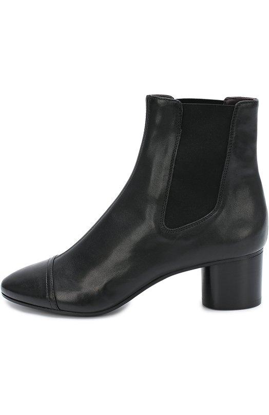 Кожаные ботильоны на устойчивом каблуке Isabel MarantБотильоны<br>Изабель Маран включила в коллекцию сезона осень-зима 2016 года черные ботильоны на тонкой подошве и устойчивом каблуке средней высоты. Обувь с зауженным мысом сшиты мастерами марки из матовой мелкозерненой кожи. По бокам – эластичные вставки, как у челси.<br><br>Российский размер RU: 37<br>Пол: Женский<br>Возраст: Взрослый<br>Размер производителя vendor: 37-5<br>Материал: Кожа натуральная: 100%; Стелька-кожа: 100%; Подошва-кожа: 100%;<br>Цвет: Черный