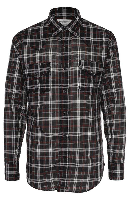 Хлопковая рубашка в клетку на кнопках Saint Laurent 407715/Y802L