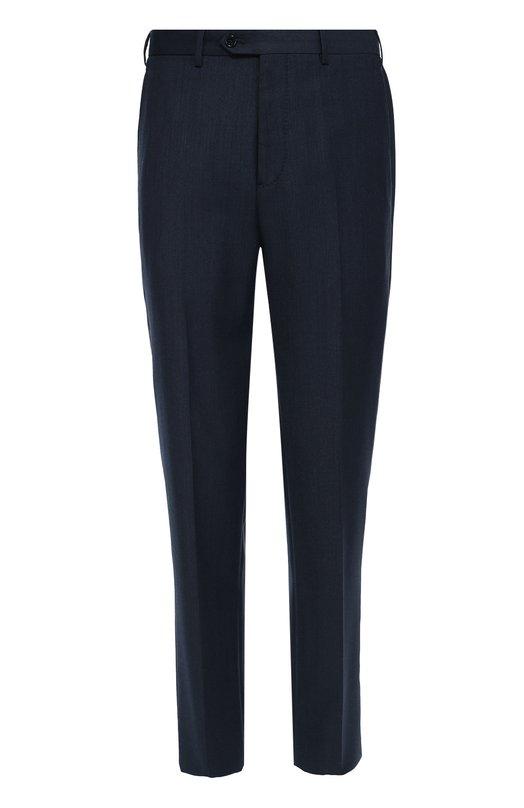 Шерстяные брюки прямого кроя Giorgio ArmaniБрюки<br>Джорджио Армани включил темно-синие брюки прямого кроя в коллекцию сезона осень-зима 2016 года. Модель со стрелками изготовлена из плотной гладкой шерсти. Нам нравится сочетать с черными дерби и джемпером.<br><br>Российский размер RU: 54<br>Пол: Мужской<br>Возраст: Взрослый<br>Размер производителя vendor: 54<br>Материал: Шерсть овечья: 100%; Подкладка-вискоза: 100%;<br>Цвет: Темно-синий