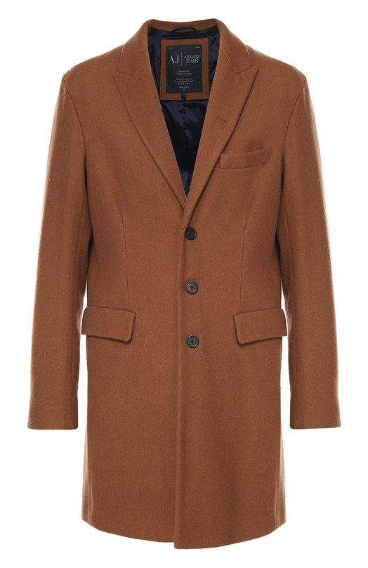Шерстяное однобортное пальто с остроконечными лацканами Armani Jeans 6X6L65/6NKBZ