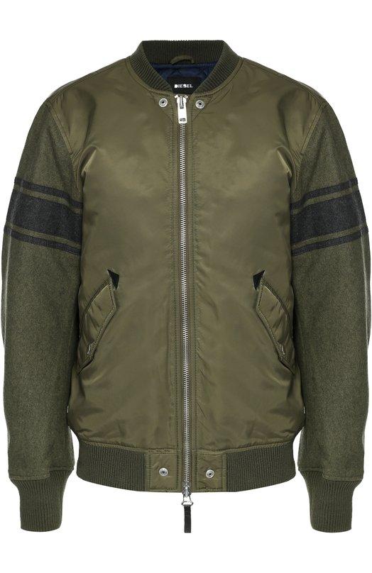 Куртка-бомбер на молнии с рукавами из шерсти Diesel 00ST8X/0WAHU