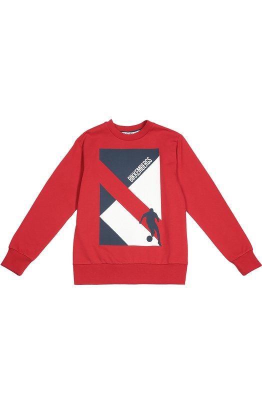 Хлопковый свитшот с принтом Dirk BikkembergsСвитеры<br>Красный свитшот сшит из плотного хлопка, хорошо сохраняющего тепло и пропускающего воздух. Модель украшена черно-белым геометрическим принтом с логотипом марки. Изделие вошло в осенне-зимнюю коллекцию 2016 года.<br><br>Размер Years: 10<br>Пол: Мужской<br>Возраст: Детский<br>Размер производителя vendor: 140-146cm<br>Материал: Хлопок: 100%;<br>Цвет: Красный