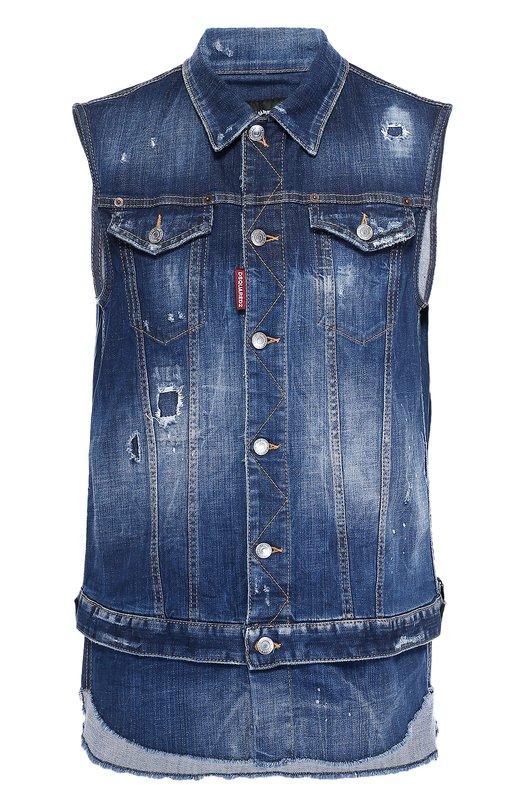 Удлиненный джинсовый жилет с необработанным краем Dsquared2 S71FB0271/S30342